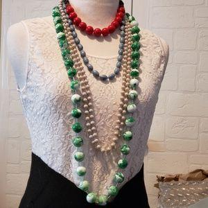 Bundle of 4 various vintage beaded necklaces